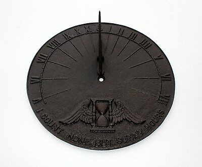 Cast Iron Roman Numeral Sun Dial Winged Hourglass I COUNT NONE BUT SUNNY HOURS