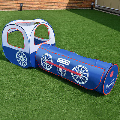2 In 1 Kids Play Tent Tunnel House In/Outdoor Portable Foldable Children Gift
