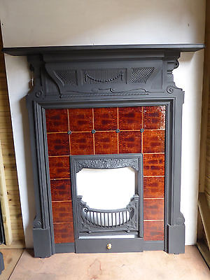 Victorian Cast Iron and Tiled Fireplace