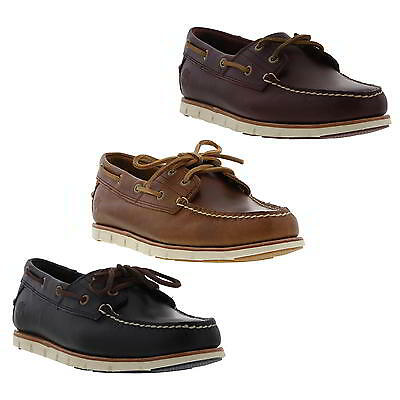 Timberland Tidelands Mens Leather 2 Eye Boat Deck Shoes Brown Blue Size 7-11