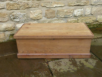 Vintage Stripped Pine Tool Box with Storage Tray Inside