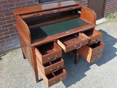 Edwardian antique solid mahogany D-roll tambour top 6 drawer office writing desk