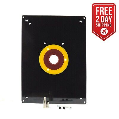 "9"" x 12"" x 3/8""  Router Table Insert Plate Rings 3-7/8"", 2-5/8"", 1-1/4"" - 18100"