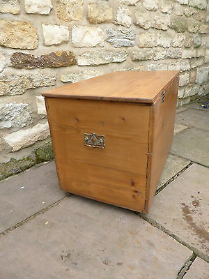 Victorian Pine Box on Casters with Brass Handles