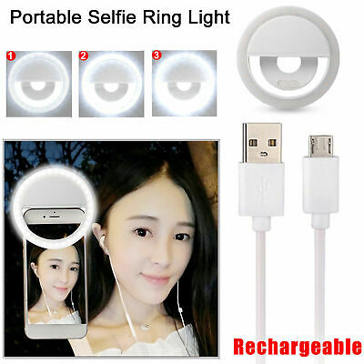Rechargeable Selfie Ring Fill Light Flash Camera Luminous LED for iPhone Samsung