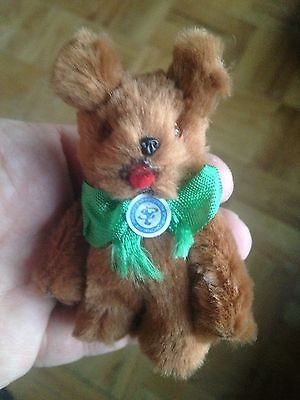 "Rare Old Vintage Antique Real Brown Fur German Bear Miniature 3"" Very Nice Nr"