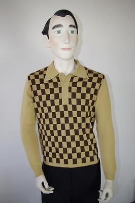 "Polo Pullover NOS FLENSBURG 60er wool True VINTAGE Gr. ""48"" Karo Wolle polo 60s"