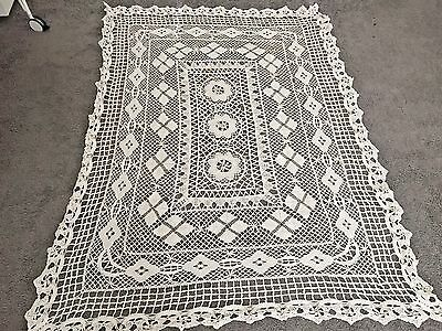 Beautiful Vintage Antique Handmade Cotton Crochet Tablecloth 54x70 Net Lace