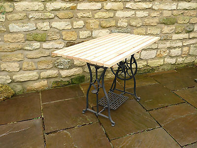 Vintage  Sewing Machine Base Table with Slatted Pine Top