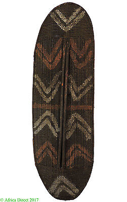 Mongo Wicker Shield Painted Patterns Congo Africa 52 Inch SALE WAS $350