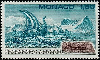"MONACO No. 1356 "" DISCOVERY OF GREENLAND , FLOTTE VIKING AND STONE "" NEW xx TTB"