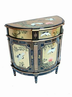 Hand Painted Cranes on Gold Leaf Half Moon Cabinet Oriental Furniture