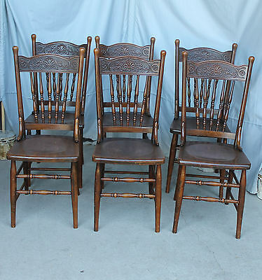 Antique Set of Six Matching Carved or Pressed back Chairs
