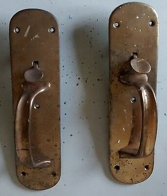 vintage style    a pair of BRASS   Door Handles        free post