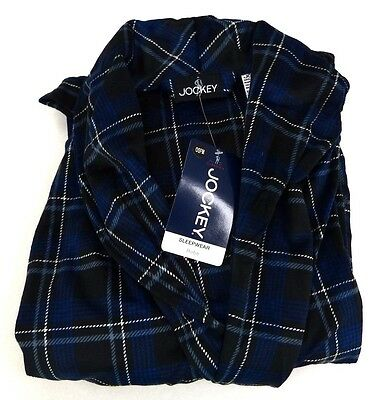 Jockey Mens Blue Plaid Silky Matte Robe One Size