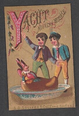 """Victorian Trade Card S.d. Sollers Shoes Alphabet """"y"""""""