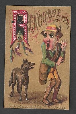 """Victorian Trade Card S.d. Sollers Shoes Alphabet """"r"""""""