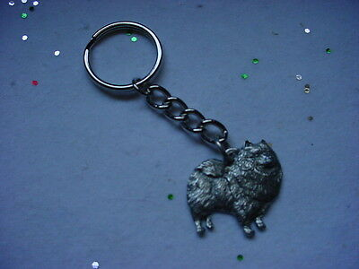 KEESHOND Dog PEWTER Silver KEYCHAIN Christmas Ornament Key Chain Ring NEW puppy