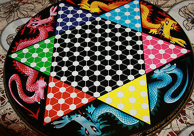 Holdson Magnetic Chinese Checkers 1974 metal tin board Dragon graphics tin toy