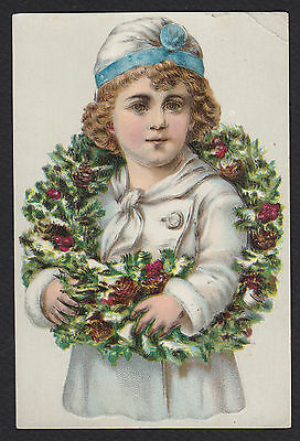 Trade Card-Lion Coffee-Victorian Christmas-Girl-Wreath-Holly-Woolson Spice