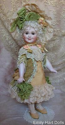 Rare Jumeau 203 porcelain doll with pure silk & Antique laces costume