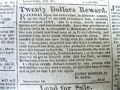 <1813 RICHMOND Va newspaper SLAVE ADS Negroes for Sale AFRICAN AMERICAN Slavery