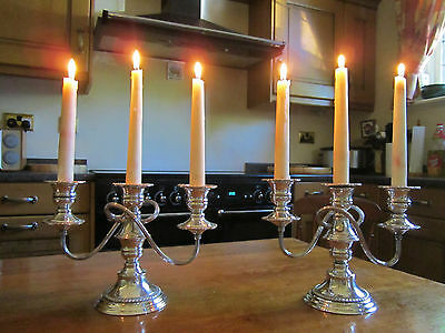 Old Pair Antique Edwardian Regency Style Silver Plate on Copper Candlesticks