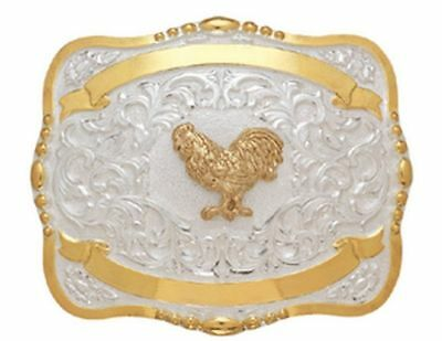 Crumrine Western Belt Buckle Kids Child Rooster Gold White 384