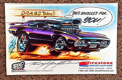 KENNY YOUNGBLOOD SIGNED PLYMOUTH GTX CARtoon  MUSCLE DRAG CAR RACER FIRESTONE