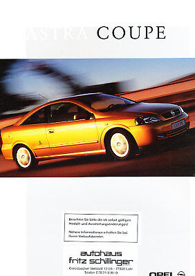 2001 Opel Astra Coupe German Prospekt Sales Brochure