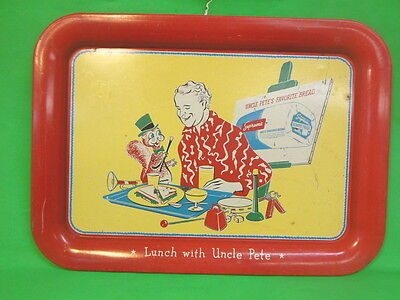 BM Vintage SUPREME White Bread Lunch With Uncle Pete Advertising Metal Tray Game