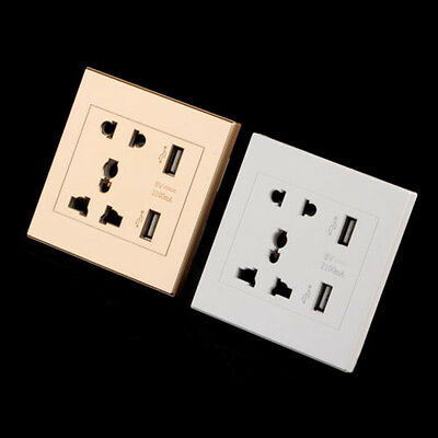 Dual USB Port Electric Wall Charger Dock Station Socket Power Socket P anel Gold