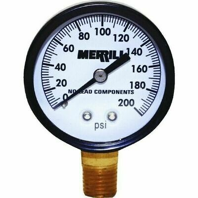 Merrill PGLNL200 No Lead Liquid Filled Pressure Gauge 0-200 PSI