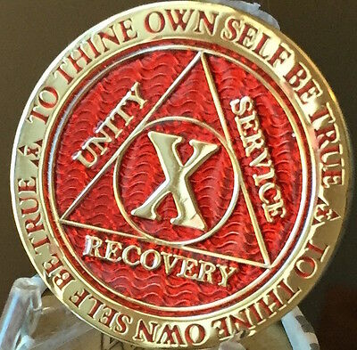 10 Year AA Medallion Red Gold Plated Alcoholics Anonymous Sobriety Chip Coin Ten