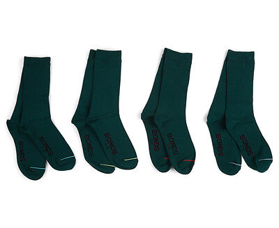 Bonds Kids' Size 3-8 School Crew Socks 4-Pack - Bottle Green