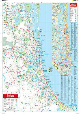"Map Of GOLD COAST And Region Poster ""ROAD GUIDE"" WALL CHART size 70 cm X 100 cm"