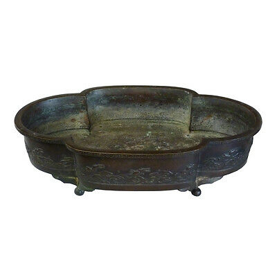 Japanese Bronze Jardiniere With Scenic Decoration