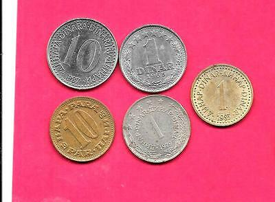Yugoslavia 5 Diff Different 1965-1987 Old Coin Lot Collection Set Group