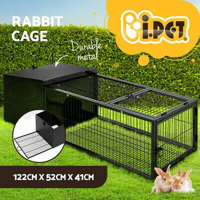 120cm Metal Rabbit Cage Hutch Guinea Pig House Run Pen Run Animal Medium W/ Tray