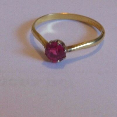 Alte Ring Gold Double mit Rosa farbige stein gr -ca 18,0mm