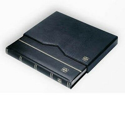 Stockbook A4, 64 black pages,padded leather* cover, inc. slipcase, black