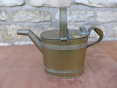 Vintage Solid Brass Hot Water/ Watering Can with Hoop Handle + Lift Up Lid