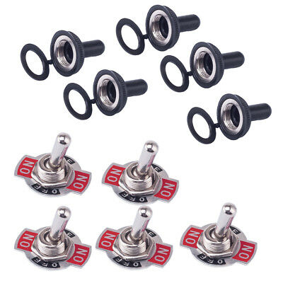 5x 125V 20A  DPDT 3 Position 6 Terminal On/Off/On Toggle Switch Waterproof Boot