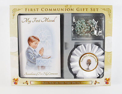 Boys First Holy Communion Blue Rosary Beads Missal Book Rosette Badge Gift Set