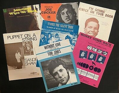 Sheet Music Lot Of 7 Inc: Joe Cocker, Sandie Shaw, Tom Jones, Dan Hill Etc