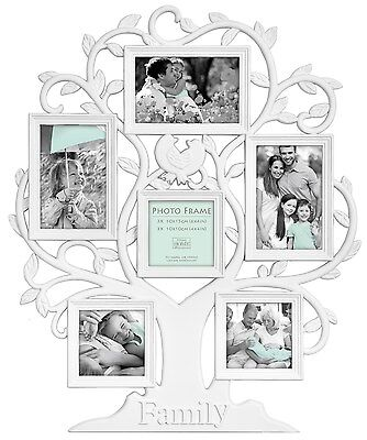 White Family Tree Shaped Multi Aperture Photo Picture Frame Holds 6 Photos
