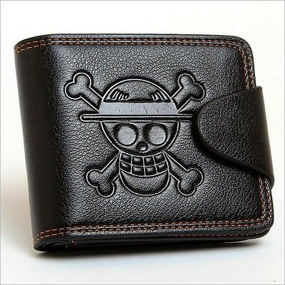 Anime One Piece Luffy Black PU Wallet/Purse Embossed with Luffy's Skull Mark US