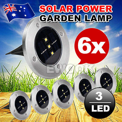6X Solar Powered LED Buried Inground Recessed Light Outdoor Garden Deck Path AU
