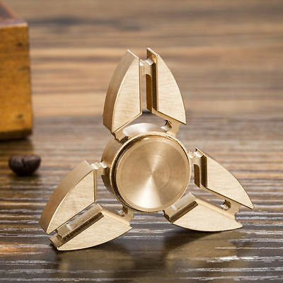 UK Tri Fidget Hand Spinner Triangle Brass Finger Toy Autism Stress Relief