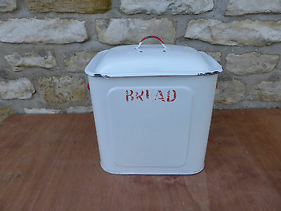 Vintage Enamel Bread Bin. Red trim with on white bin.